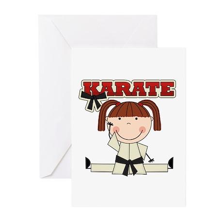 Brunette Girl Karate Kid Greeting Cards (Pk of 10)
