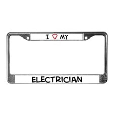 I Love Electrician License Plate Frame