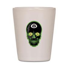 Green Eight Ball Skull Shot Glass