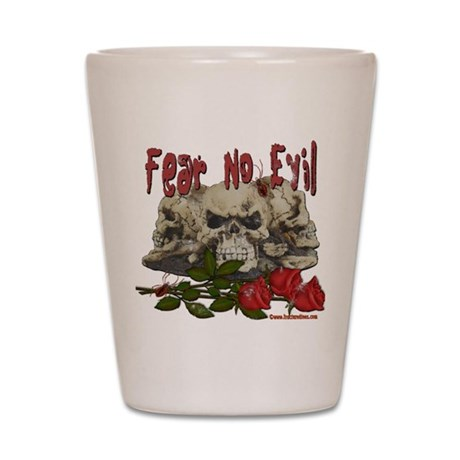 Fear No Evil Skull and Rose Shot Glass