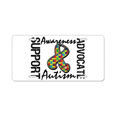 Autism Support Ribbon Aluminum License Plate