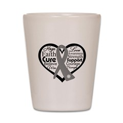 Brain Cancer Heart Shot Glass