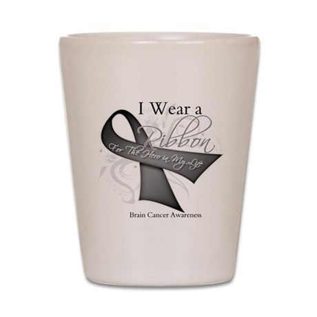 Brain Cancer Hero Ribbon Shot Glass