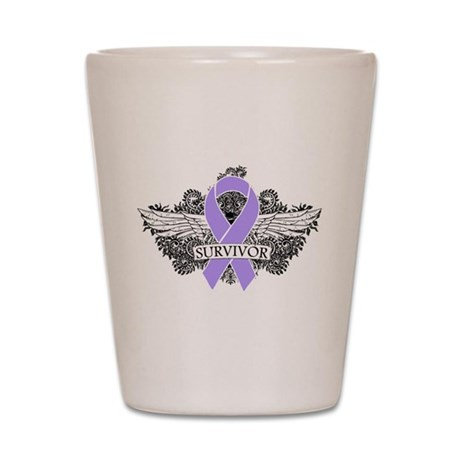 Cancer Survivor Grunge Wings Shot Glass