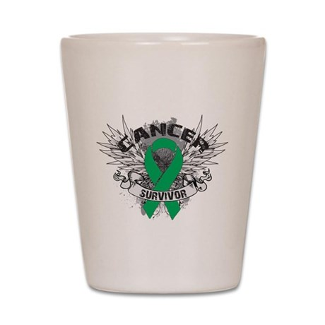 Survivor Wings Liver Cancer Shot Glass