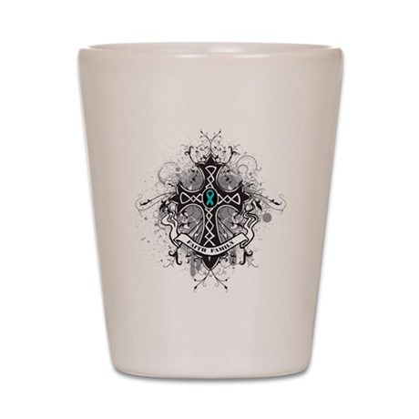Faith Cross Ovarian Cancer Shot Glass