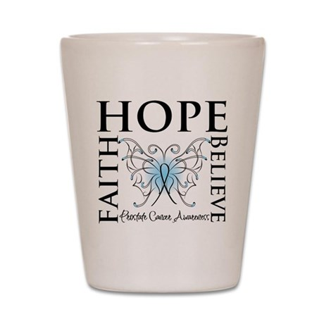 Hope Faith Prostate Cancer Shot Glass