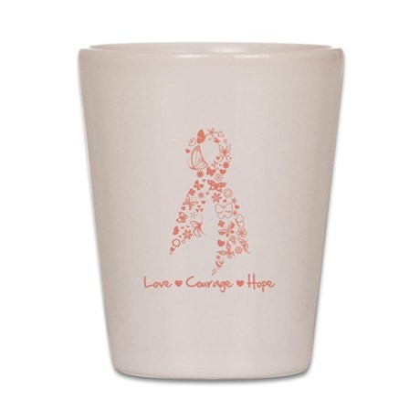 ButterflyRibbon Uterine Cance Shot Glass