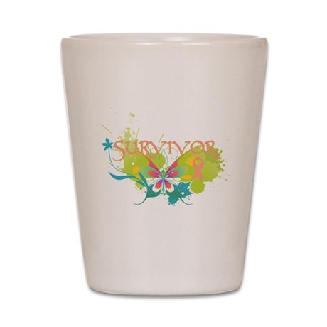 Butterfly Uterine Cancer Shot Glass