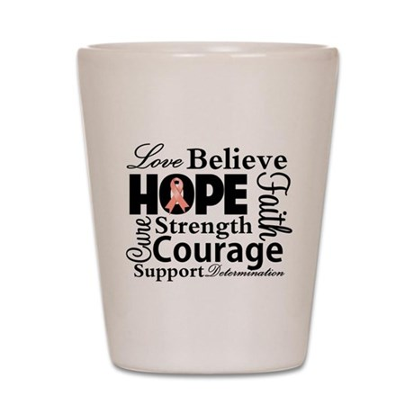Uterine Cancer Hope Collage Shot Glass