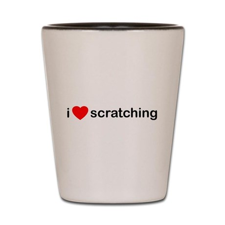 I Heart Scratching Shot Glass