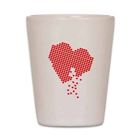 Digital Hearts Shot Glass