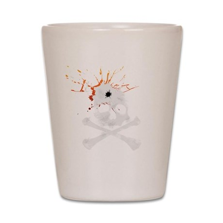 Bullet to the skull Shot Glass