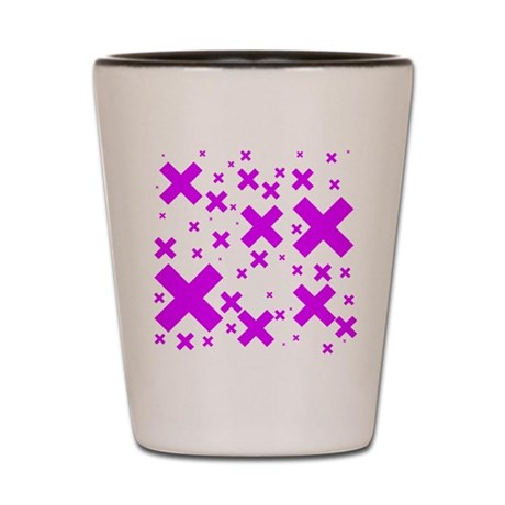 Emo Pink Crosses Shot Glass