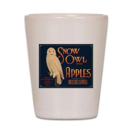 Snow Owl Apples Fruit Crate Shot Glass