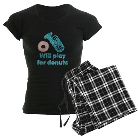 Will Play Tuba for Donuts Women's Dark Pajamas