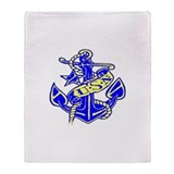 US Navy Anchor USN Throw Blanket