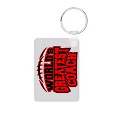 Red World's Greatest Coach Football Keychains
