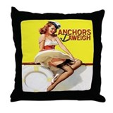 Anchors Aweigh Navy Pinup Girl Throw Pillow