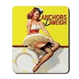 Anchors Aweigh Navy Pinup Girl Mousepad