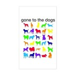 gone to the dogs rainbow Sticker (Rectangle)