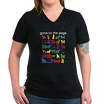 gone to the dogs rainbow Women's V-Neck Dark T-Shi
