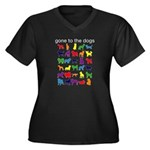 gone to the dogs rainbow Women's Plus Size V-Neck