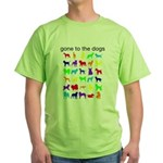 gone to the dogs rainbow Green T-Shirt