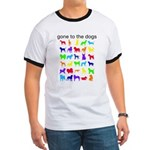 gone to the dogs rainbow Ringer T