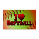 I Love Softball (Optic Yellow) 22x14 Wall Peel