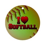 I Love Softball (Optic Yellow) Ornament (Round)