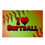 I Love Softball (Optic Yellow) Postcards (Package