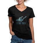 Retro Enterprise Women's V-Neck Dark T-Shirt
