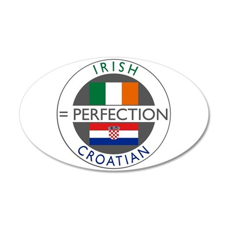 Irish Croatian flags 22x14 Oval Wall Peel