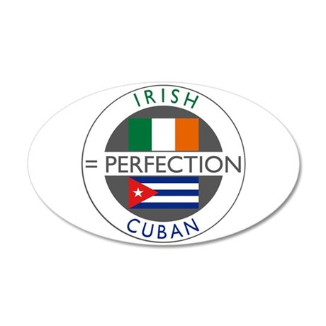 Irish Cuban heritage flags 38.5 x 24.5 Oval Wall P