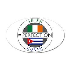 Irish Cuban heritage flags 22x14 Oval Wall Peel