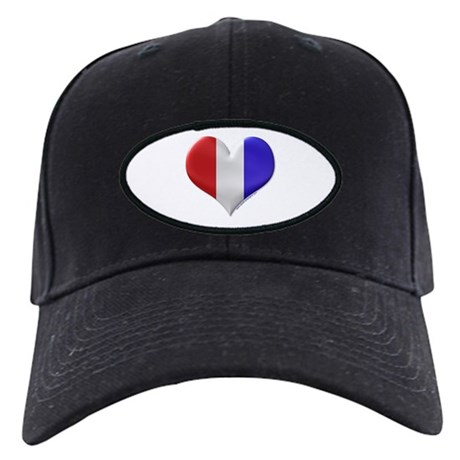 Heart Red White Blue Black Cap