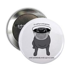 "Conehead Black Pug 2.25"" Button (10 pack)"