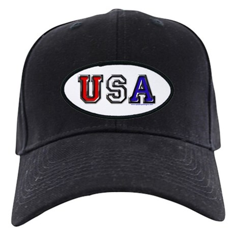 USA Black Chrome 3D Black Cap
