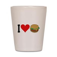 I Love Hamburgers (design) Shot Glass