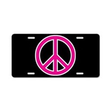 Pink Peace Sign Aluminum License Plate