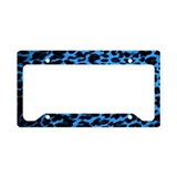 Dark Blue Leopard Print License Plate Holder