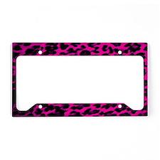 Hot Pink Leopard Print License Plate Holder