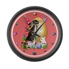 A Good Three Bunny Easter Large Wall Clock