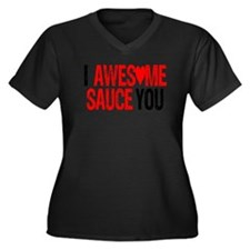 AWESOME SAUCE Women's Plus Size V-Neck Dark T-Shir