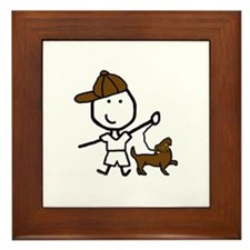 Boy & Dog Framed Tile