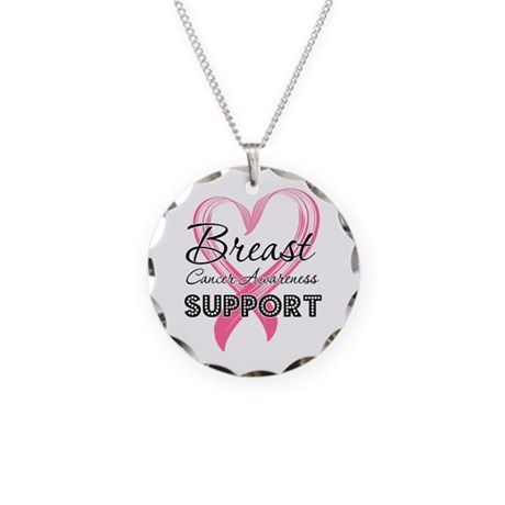 Support Breast Cancer Necklace Circle Charm