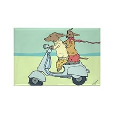 Dachshund Vintage Moped Rectangle Magnet (10 pack)