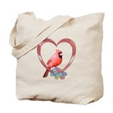 Cardinal in Heart Tote Bag