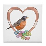 Robin in Heart Tile Coaster
